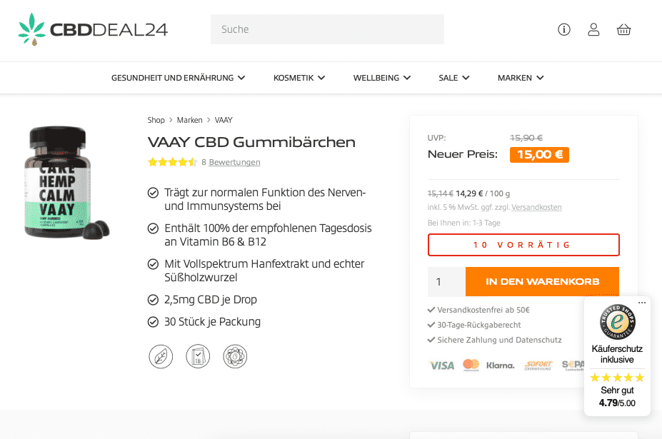 Screenshot von VAAY CBD Gummies