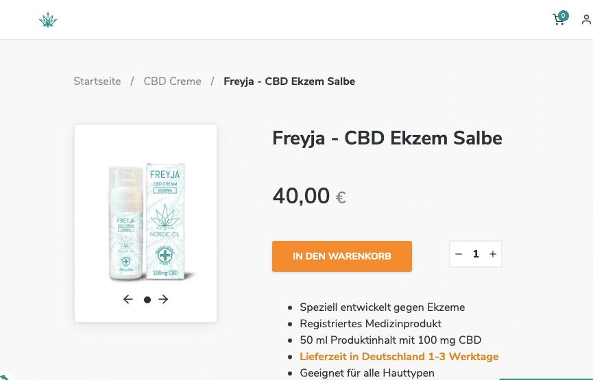 Screenshot von CBD Creme Nordic Oil Freyja