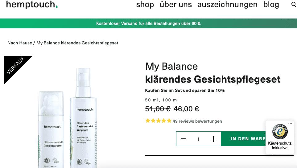 Screenshot von Hemptouch My Balance Pflegeset für unreine Haut