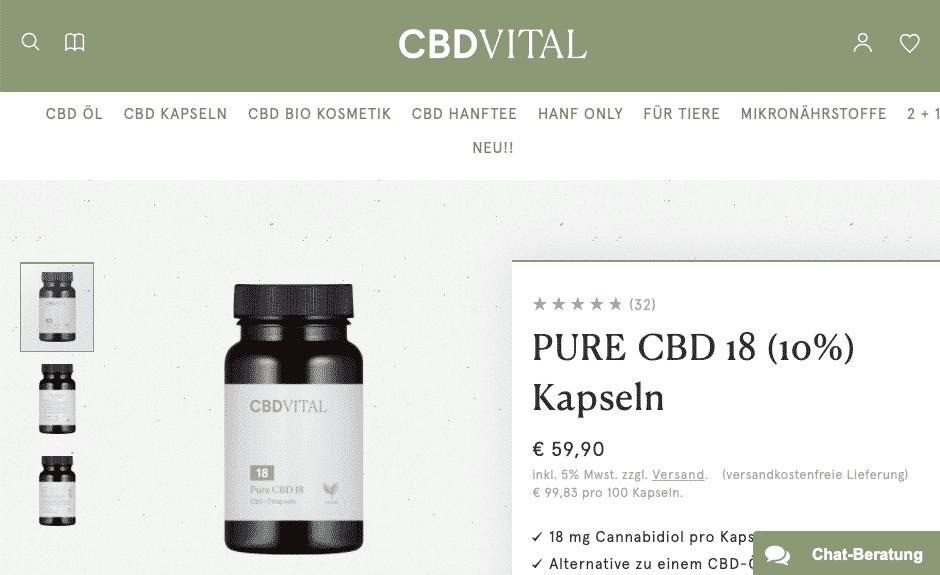 Screenshot von CBD Vital Pure CBD 18 (10%)