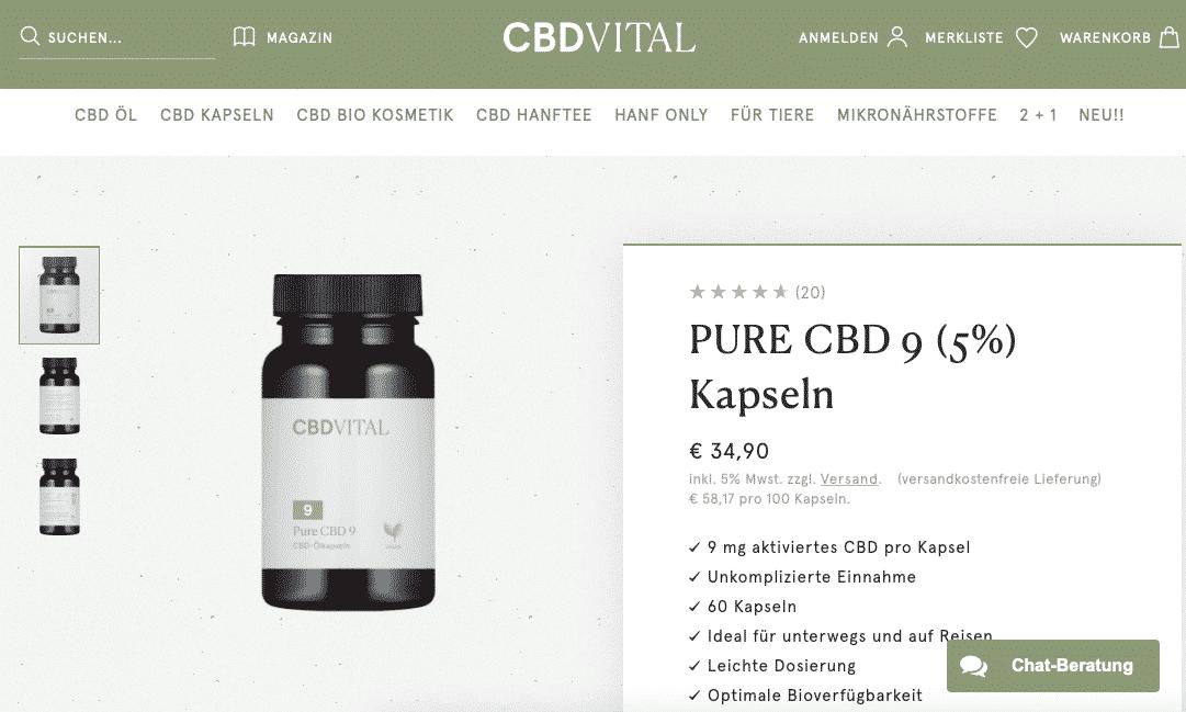 Screenshot von CBD Vital Pure CBD 9 (5%)