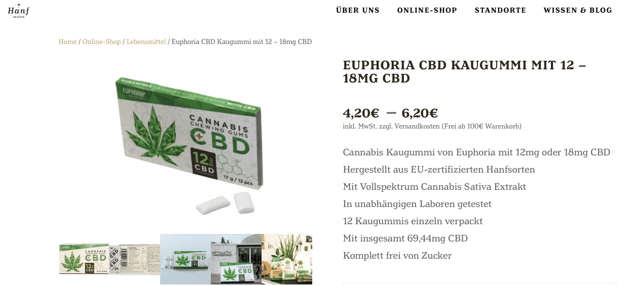 Screenshot von Euphoria Cannabis Kaugummi mit 12 – 18MG CBD