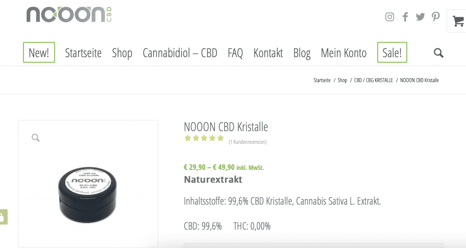 Screenshot von NOOON CBD Kristalle
