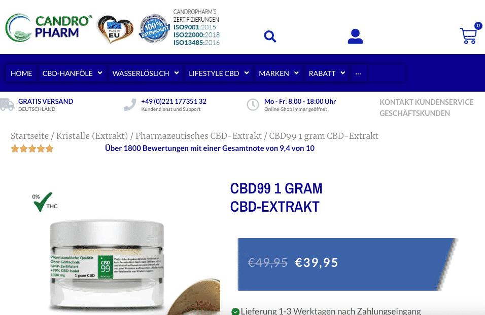 Screenshot von CANDROPHARM  CBD99 1 gram  CBD-Extrakt