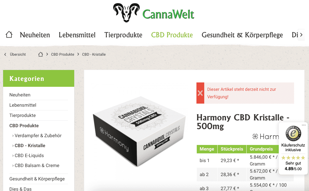 Screenshot von Harmony CBD Kristalle - 500mg