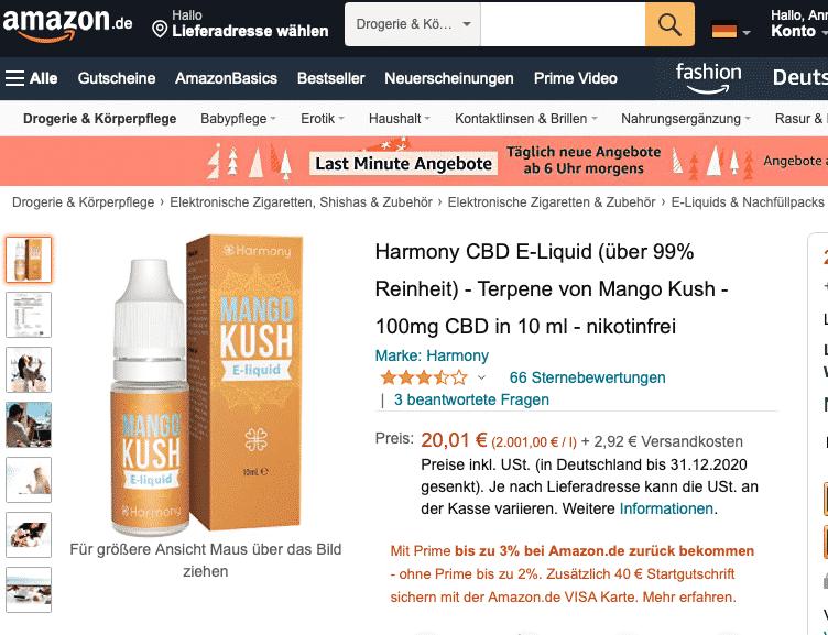 Screenshot von CBD E-Liquid Mango (3% CBD)