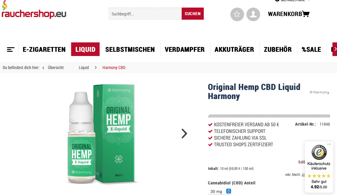 Screenshot von Original Hemp CBD Liquid Harmony