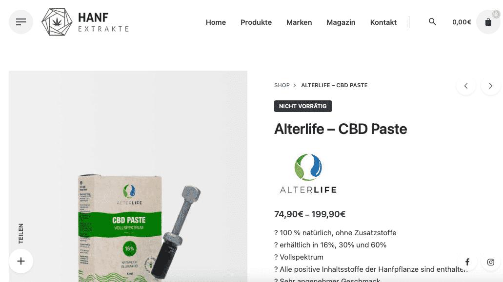 Screenshot von ALTERLIFE CBD Paste 60 %