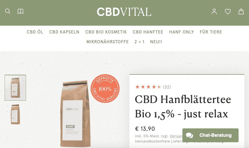 Screenshot von CBD Vital CBD Hanfblütentee Bio 1,5% - just relax