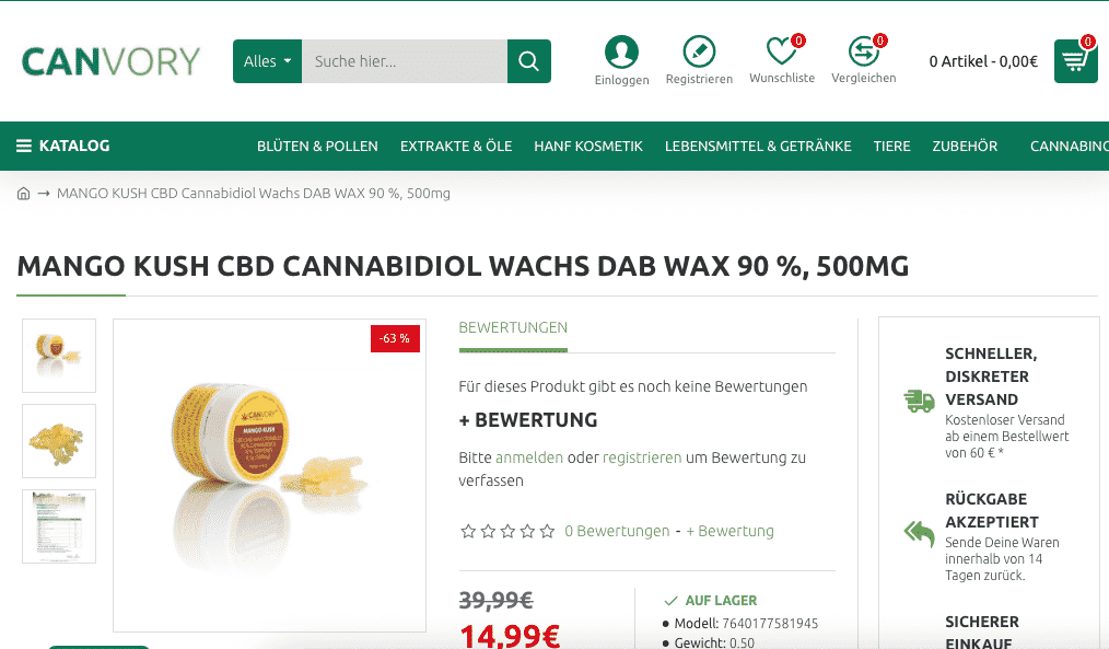 Screenshot von Canvory Mango Kusg CBD Wax 90 %, 500mg