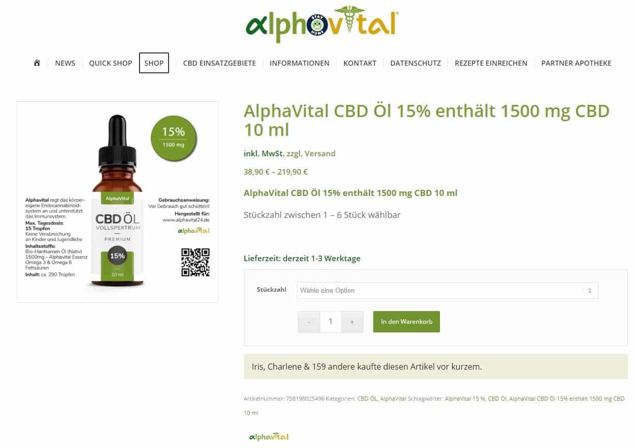 Screenshot von Alphavital CBD Öl Vollspektrum