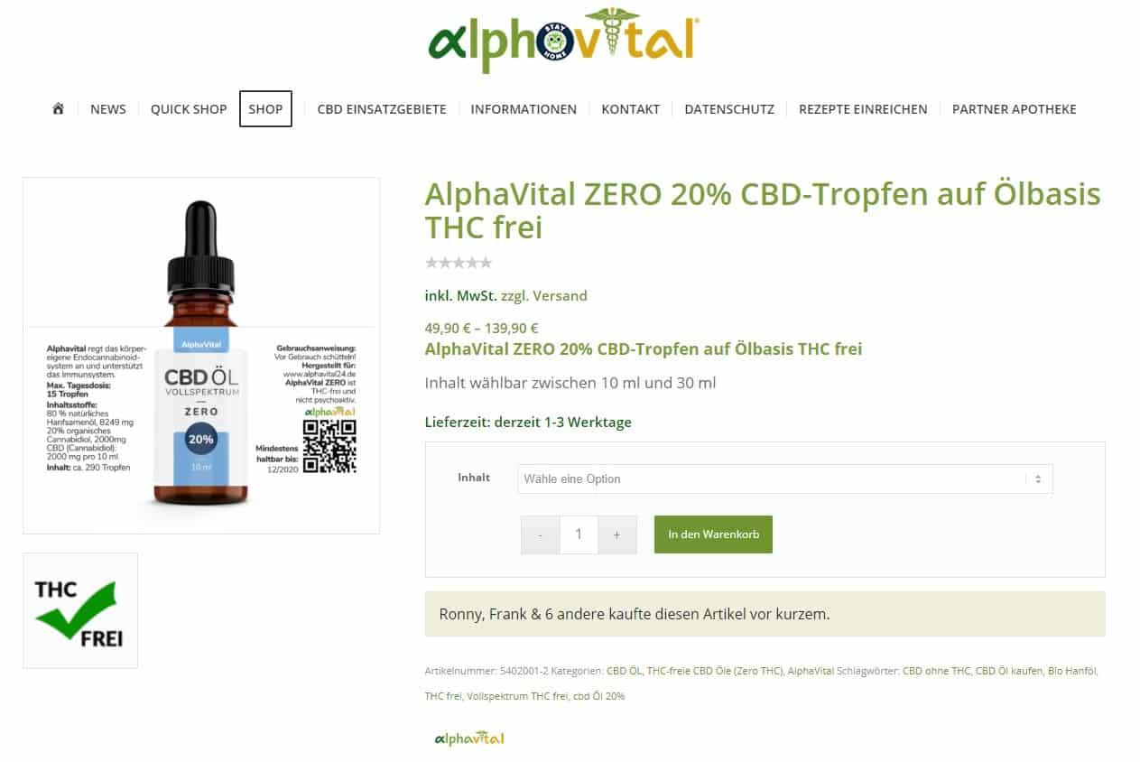 Screenshot von Alphavital ZERO - 10 und 20%
